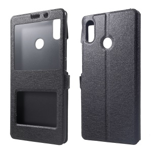 For Xiaomi Mi Max 3 Silk Texture Dual Window Leather Stand Protective Case - Black
