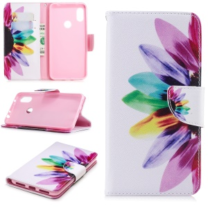 Pattern Printing Card Holder Leather Case Cover with Stand for Xiaomi Redmi Note 6 - Petals Pattern