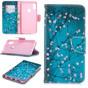 Pattern Printing Card Holder Leather Case Cover with Stand for Xiaomi Redmi Note 6 Pro - Tree with Flowers