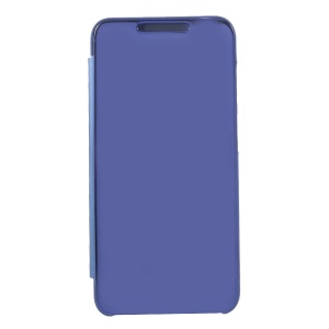 Plated Mirror Surface Leather Mobile Shell with Stand View Window for Xiaomi Pocophone F1 / Poco F1 (India) - Blue