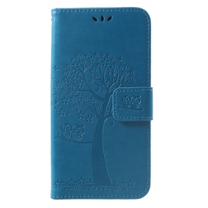 Imprint Tree Owl Magnetic Wallet PU Leather Cell Phone Shell with Stand for Xiaomi Redmi Note 6 Pro - Blue