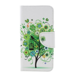 Cross Texture Patterned Wallet Leather Case with Magnet for Xiaomi Redmi 6 - Green Tree