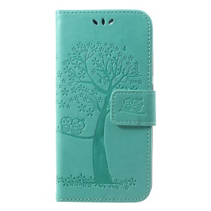 Imprint Tree Owl Wallet PU Leather Mobile Cover Case for Xiaomi Redmi 6 (Dual Camera: 12MP+5MP) - Cyan