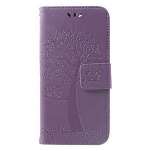 Imprint Tree Owl Wallet Stand Leather Mobile Phone Case for Xiaomi Redmi 6 (Dual Camera: 12MP+5MP) - Light Purple