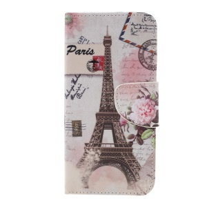 Patterned Cross Texture Wallet Stand PU Leather Phone Cover for Xiaomi Redmi Note 6 Pro- Eiffel Tower