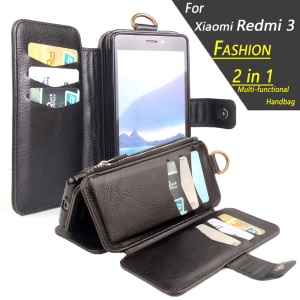 2 in 1 Magnetic Absorbed Multi-slot Wallet Litchi Leather Case for Xiaomi Redmi 3 - Black