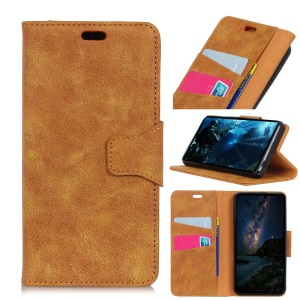 Retro Split Leather Shell Case with Wallet Stand for Xiaomi Mi 8 Lite / Mi 8 Youth (Mi 8X) - Brown