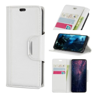 Textured PU Leather Wallet Stand Mobile Case for Xiaomi Mi 8 Lite / Mi 8 Youth (Mi 8X) - White