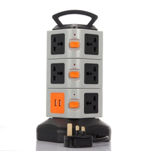 3 Layers 11 Outlets Home / Office Vertical Power Socket with 2 USB Outputs 2M Cable - Multi-color / EU Plug