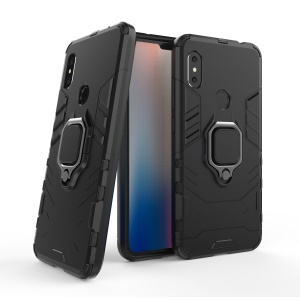 Cool Guard Plastic TPU Hybrid Case with Metal Ring Holder for Xiaomi Redmi Note 6 Pro - Black