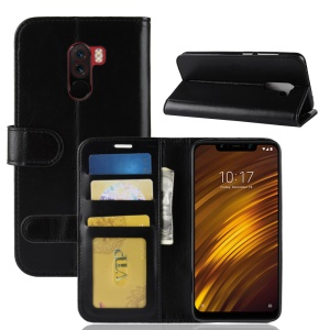 Crazy Horse Magnetic Stand Wallet Leather Mobile Phone Case for Xiaomi Pocophone F1 / Poco F1 (India) - Black
