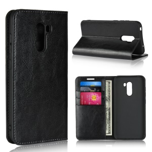 Crazy Horse Genuine Leather Wallet Phone Case with Stand for Xiaomi Pocophone F1 / Poco F1 (India) - Black