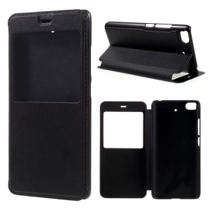 View Window Leather Stand Case for Xiaomi Mi 5s - Black