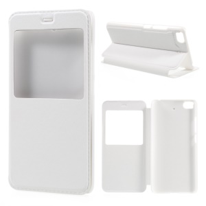 View Window Leather Stand Cover for Xiaomi Mi 5s - White