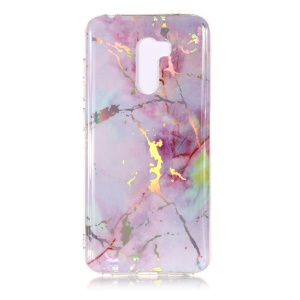 Marble Pattern Plated IMD TPU Soft Case for Xiaomi Pocophone F1 / Poco F1 - Light Purple