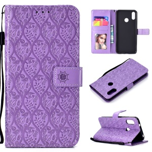 Imprint Leaf Leather Wallet Cover Casing for Xiaomi Mi A2 Lite / Redmi 6 Pro - Purple