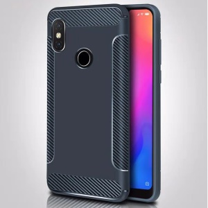 Carbon Fiber Texture Matte TPU Mobile Shell for Xiaomi Redmi Note 6 Pro - Dark Blue