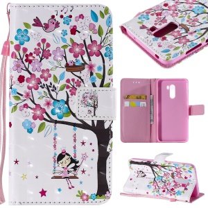 Pattern Printing Light Spot Decor Leather Wallet Cover for Xiaomi Pocophone F1 / Poco F1 in India - Flowered Tree