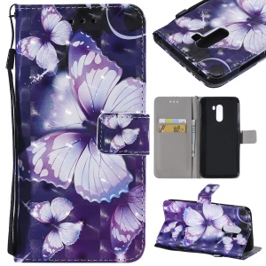 Pattern Printing Light Spot Decor PU Leather Wallet Shell for Xiaomi Pocophone F1 / Poco F1 in India - Purple Butterflies
