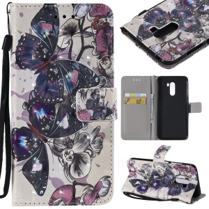 Pattern Printing Light Spot Decor Magnetic Leather Wallet Case for Xiaomi Pocophone F1 / Poco F1 in India - Flowers and Butterflies