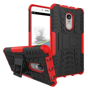 Anti-slip PC + TPU Hybrid Shell with Kickstand for Xiaomi Redmi Note 4 - Red