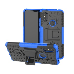 Anti-slip Tyre Pattern Hybrid Back Case with Kickstand for Xiaomi Redmi Note 6 Pro - Blue