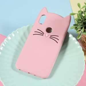 3D Moustache Cat Silicone Shell for Xiaomi Redmi S2 / Y2 - Pink