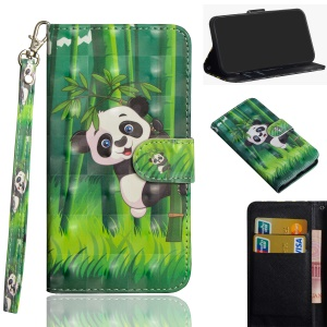 Pattern Printing Wallet Leather Case with Stand for Xiaomi Redmi Note 6 Pro - Panda