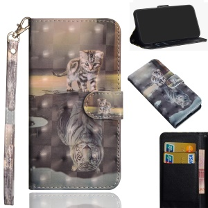 Pattern Printing Wallet Leather Cover with Stand for Xiaomi Redmi Note 6 Pro - Cat and Reflection in Water