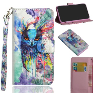Pattern Printing Magnetic Leather Stand Case for Xiaomi Redmi Note 6 Pro - Bird