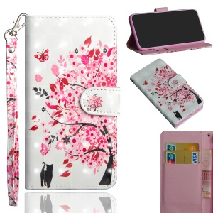 Pattern Printing Magnetic Leather Stand Cover for Xiaomi Redmi Note 6 Pro - Flowered Tree