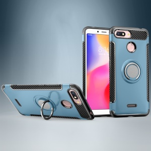 Carbon Fiber Texture TPU PC Combo Case for Xiaomi Redmi 6 (Dual Camera: 12MP+5MP) with Magnetic Ring Holder Kickstand - Baby Blue