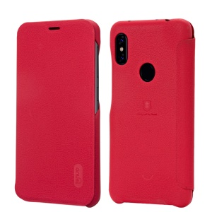 LENUO Ledream Series Flip Leather Mobile Cover with Card Slot for Xiaomi Redmi Note 6 Pro - Red