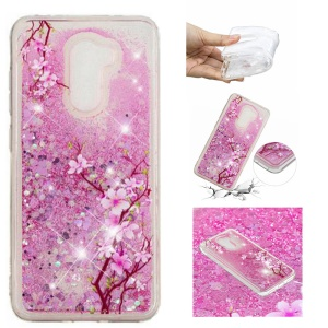 For Xiaomi Pocophone F1 / Poco F1 (India) Embossment Pattern Quicksand TPU Back Phone Case - Peach Blossom