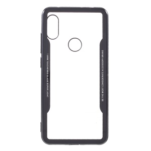 Transparent Acrylic Back + Silicone Frame Hybrid Case for Xiaomi Redmi Note 6 Pro - All Black