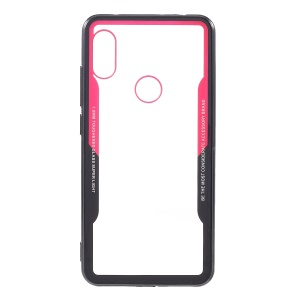 Transparent Acrylic Back + Silicone Edge Hybrid Cover for Xiaomi Redmi Note 6 Pro - Black / Red