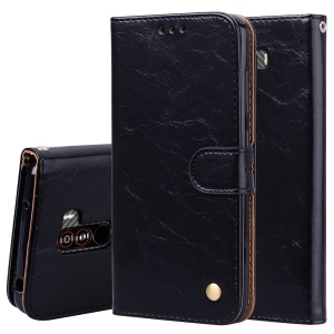 HAT PRINCE Oil Wax PU Leather Wallet Phone Case for Xiaomi Pocophone F1 / Poco F1 (India) - Black