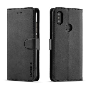 LC.IMEEKE Wallet Leather Stand Case for Xiaomi Mi A2 / Mi 6X (China) - Black