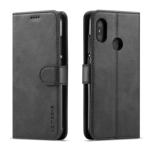 LC.IMEEKE Wallet Leather Stand Case for Xiaomi Mi A2 Lite / Redmi 6 Pro (China) - Black