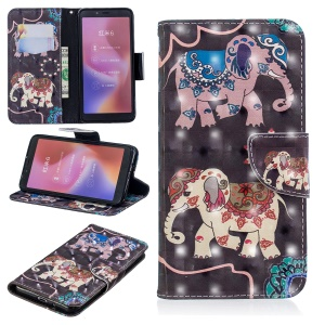 Patterned Light Spot Decor Leather Wallet Cell Phone Case for Xiaomi Redmi 6 - Elephant