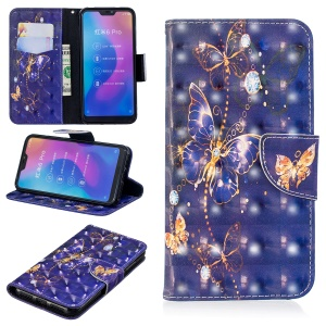Patterned Light Spot Decor Leather Stand Mobile Cover for Xiaomi Mi A2 Lite / Redmi 6 Pro - Vivid Butterfly