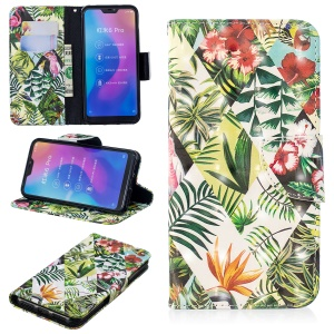 Patterned Light Spot Decor Leather Wallet Cell Phone Shell for Xiaomi Mi A2 Lite / Redmi 6 Pro - Leaves