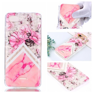 Pink Flowers and Marble Pattern
