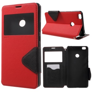 ROAR KOREA View Window Leather Stand Cover for Xiaomi Mi Max - Red
