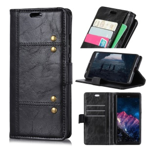 [Rivet Decor] Stand Magnetic Leather Case for Xiaomi Mi 8 Pro - Black