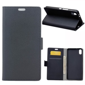 Wallet Stand Protective PU Leather Mobile Case for Xiaomi Mi 8 Pro - Black