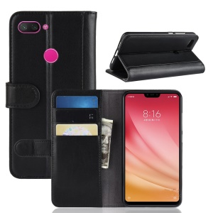 Split Leather Wallet Case for Xiaomi Mi 8 Lite / Mi 8 Youth (Mi 8X) - Black