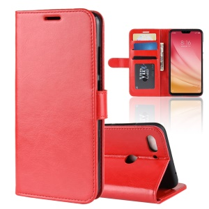 Crazy Horse Wallet Stand Leather Cover Case for Xiaomi Mi 8 Lite/Mi 8 Youth (Mi 8X) - Red