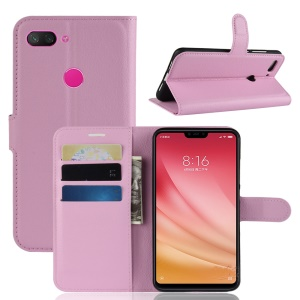 Litchi Texture Wallet Leather Stand Shell Case for Xiaomi Mi 8 Lite / Mi 8 Youth (Mi 8X) - Pink