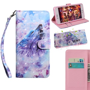 Light Spot Decor Patterned Wallet Leather Stand Shell for Xiaomi Redmi 6A - Howling Wolf